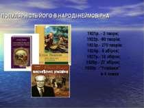 ПОПУЛЯРНІСТЬ ЙОГО В НАРОДІ НЕЙМОВІРНА 1921р. - 2 твори; 1922р. -80 творів; 19...
