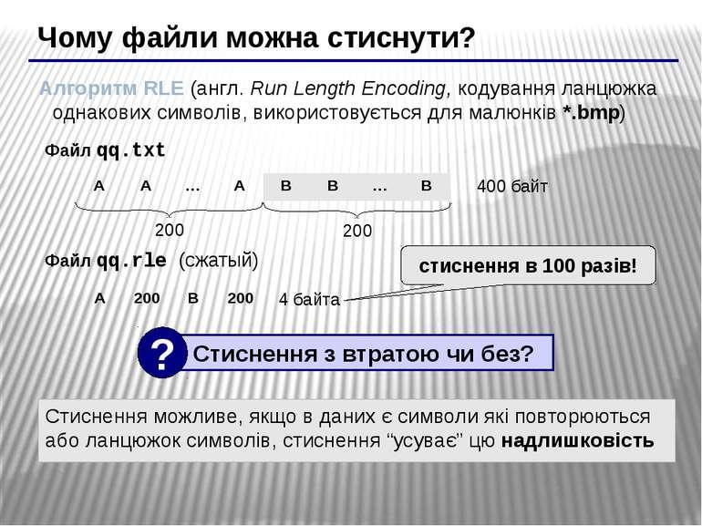 Чому файли можна стиснути? Алгоритм RLE (англ. Run Length Encoding, кодування...