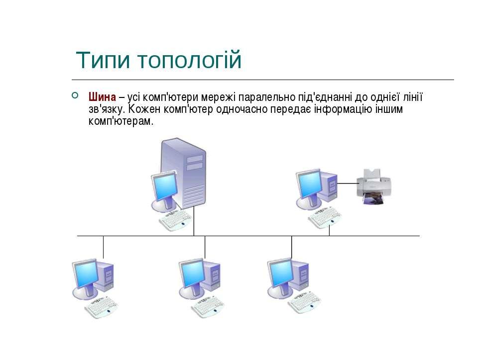 Типи топологій Шина – усі комп'ютери мережі паралельно під'єднанні до однієї ...