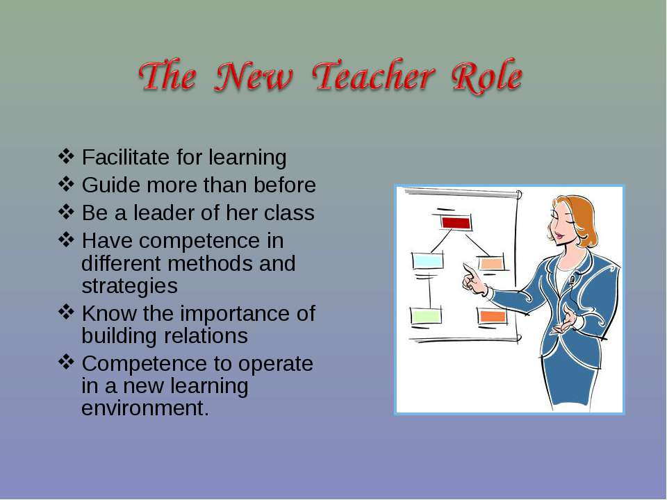 Facilitate for learning Guide more than before Be a leader of her class Have ...