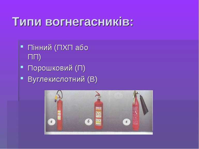 Типи вогнегасників: Пінний (ПХП або ПП) Порошковий (П) Вуглекислотний (В)