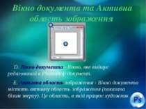 Вікно документа та Активна область зображення D. Вікно документа - Вікно, яке...