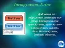 Інструмент Еліпс Додавання на зображення геометричних фігур. Модифікатори: пр...