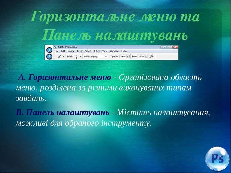 Горизонтальне меню та Панель налаштувань A. Горизонтальне меню - Організована...