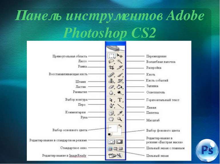 Панель инструментов Adobe Photoshop CS2