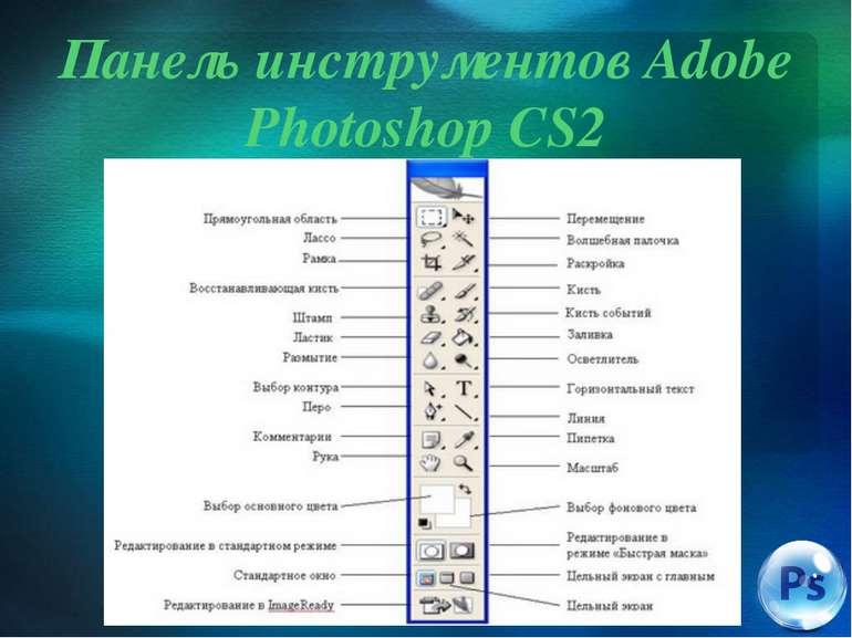 Панель инструментов Adobe Photoshop CS2