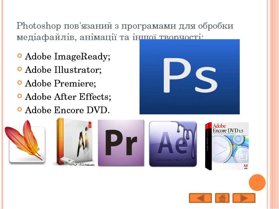Photoshop пов'язаний з програмами для обробки медіафайлів, анімації та іншої ...