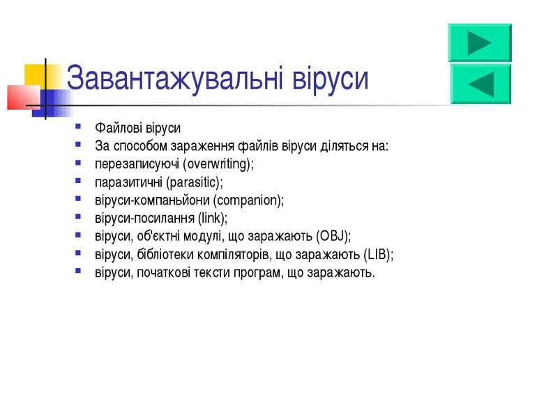 Завантажувальні віруси Файлові віруси За способом зараження файлів віруси діл...