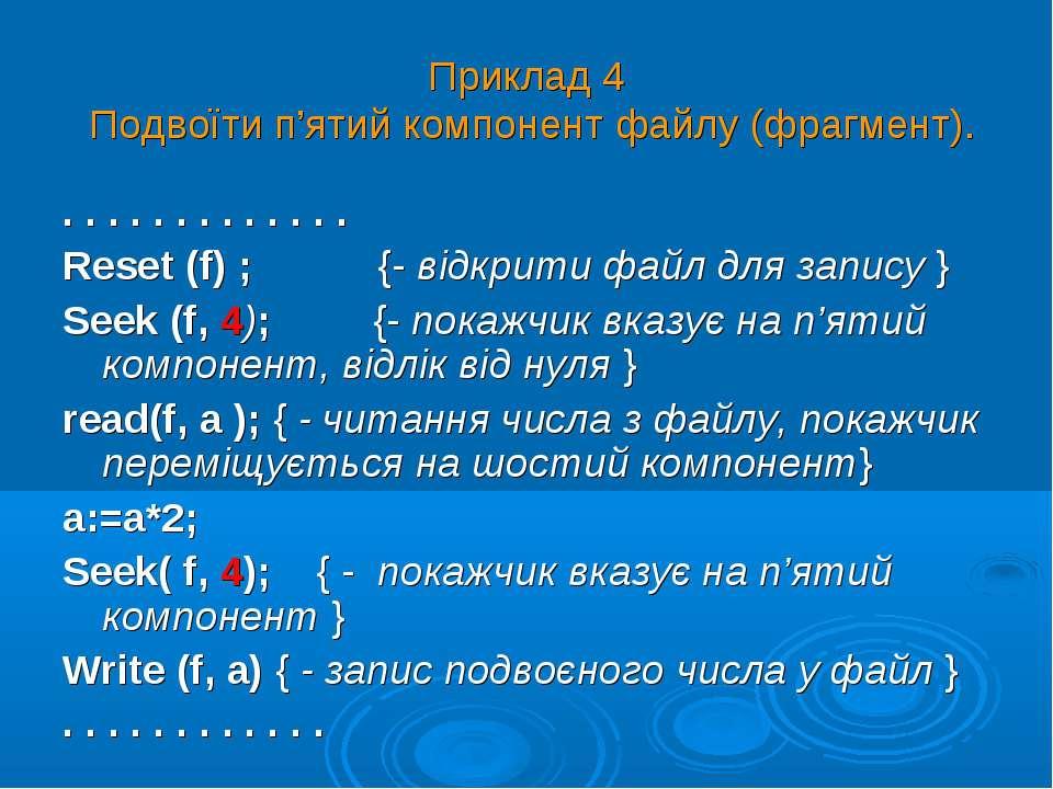 Приклад 4 Подвоїти п'ятий компонент файлу (фрагмент). . . . . . . . . . . . ....