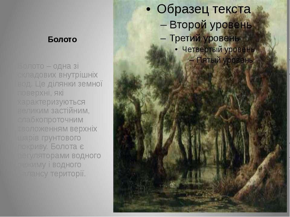 Болото Болото – одна зі складових внутрішніх вод. Це ділянки земної поверхні,...