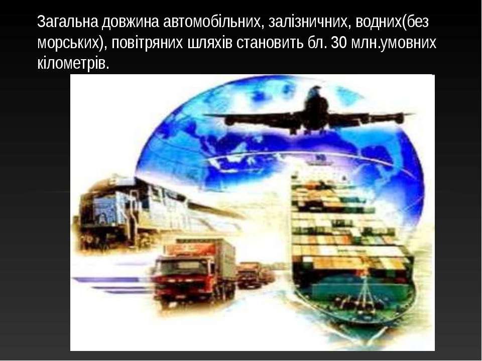 Загальна довжина автомобільних, залізничних, водних(без морських), повітряних...