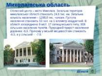 Миколаївська область Обласний центр – місто Миколаїв. Загальна територія мико...