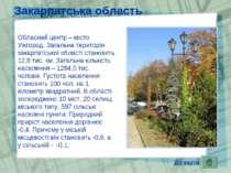 Закарпатська область Обласний центр – місто Ужгород. Загальна територія закар...