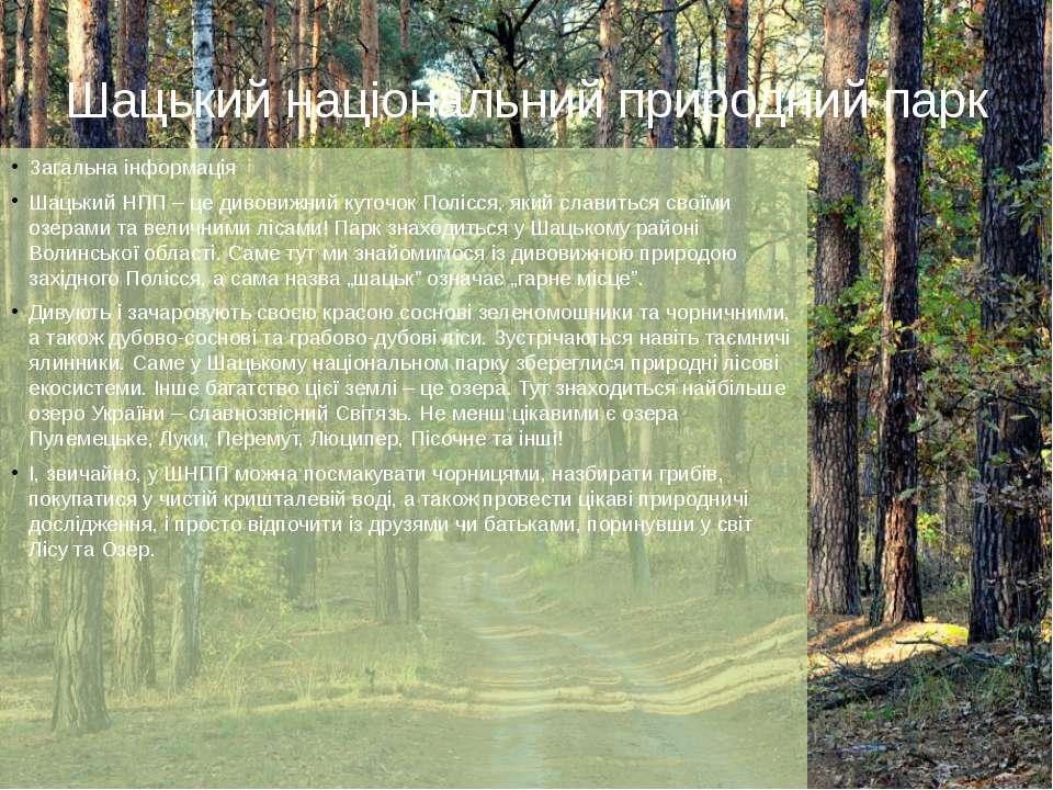 Шацький національний природний парк Загальна інформація Шацький НПП – це диво...