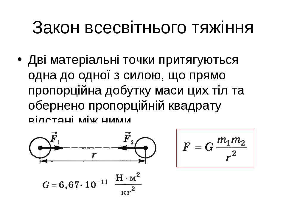 Закон всесвітнього тяжіння Дві матеріальні точки притягуються одна до одної з...
