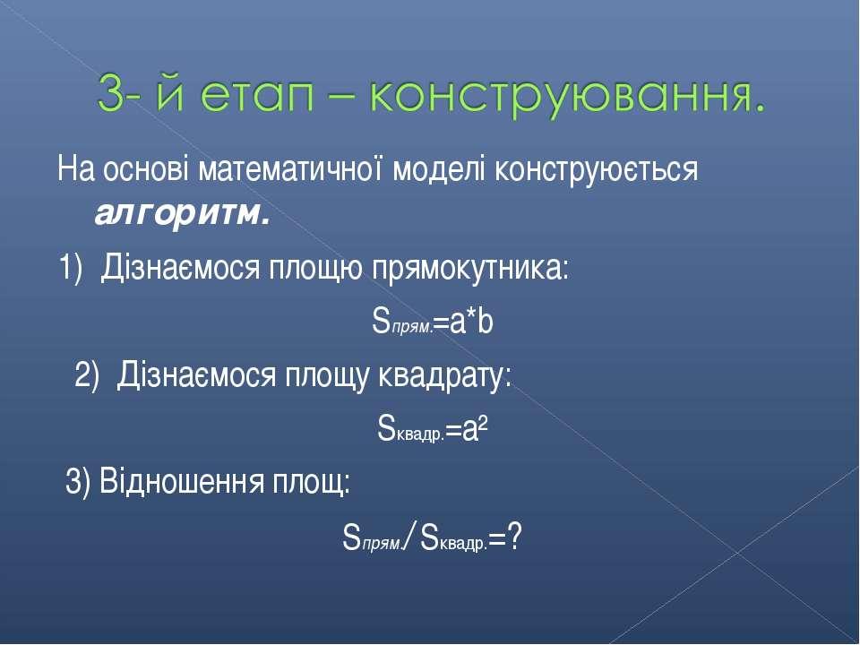 На основі математичної моделі конструюється алгоритм. 1) Дізнаємося площю пря...