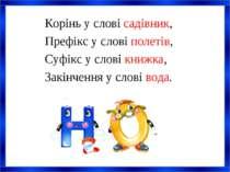 Корінь у слові садівник, Префікс у слові полетів, Суфікс у слові книжка, Закі...