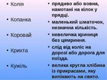 Колія Копанка Коровай Крихта Кужіль прядиво або вовна, намотані на кілок у пр...