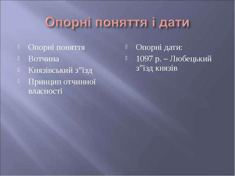 """Опорні поняття Вотчина Князівський з""""їзд Принцип отчинної власності Опорні да..."""