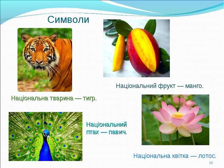 Символи Національна тварина —тигр. Національний птах —павич. Національна кв...