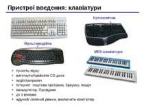 Пристрої введення: клавіатури MIDI-клавіатури Ергономічна Мультимедійна гучні...