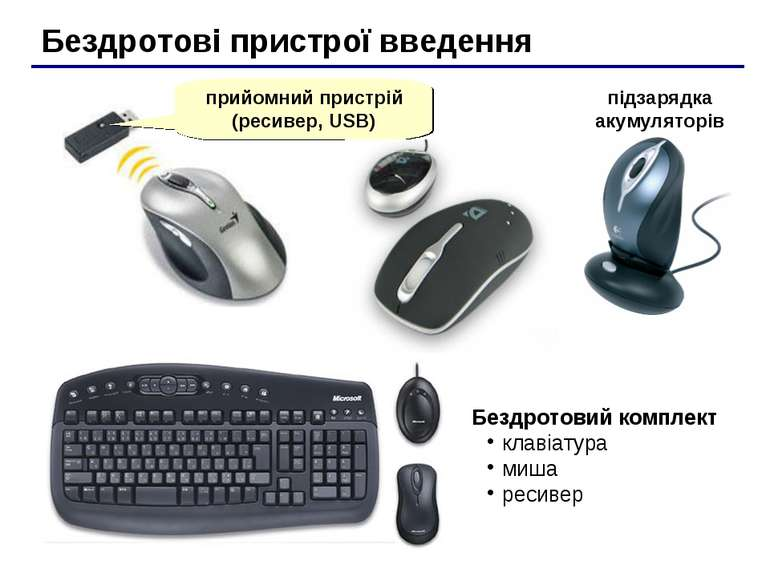 Бездротові пристрої введення прийомний пристрій (ресивер, USB) Бездротовий ко...