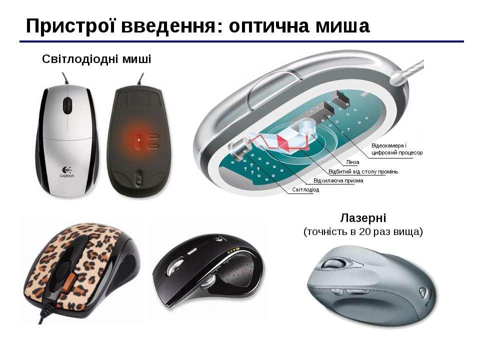 Пристрої введення: оптична миша Світлодіодні миші Лазерні (точність в 20 раз ...