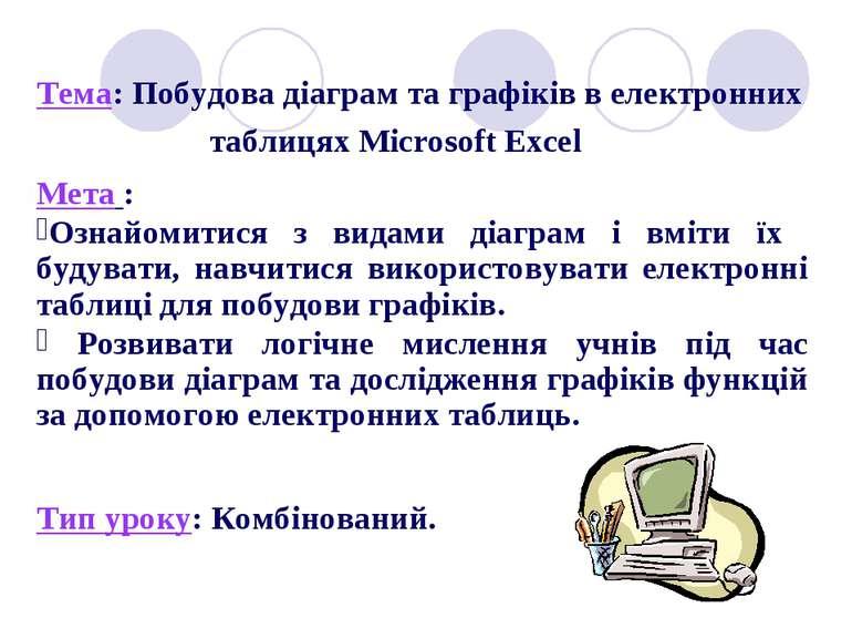 Тема: Побудова діаграм та графіків в електронних таблицях Microsoft Excel Мет...