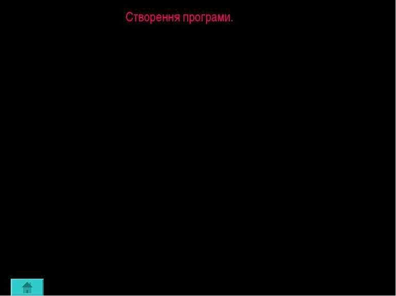 Створення програми. При запуску системи з'являється вікно редактора текстів п...
