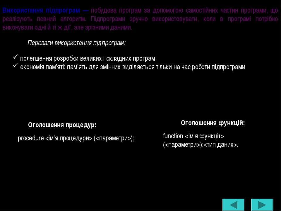 Використання підпрограм — побудова програм за допомогою самостійних частин пр...