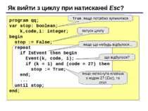 Як вийти з циклу при натисканні Esc? program qq; var stop: boolean; k,code,i:...