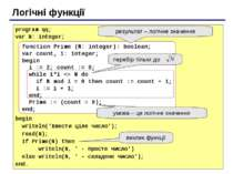 Логічні функції program qq; var N: integer; begin writeln('Ввести ціле число'...