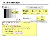 Як міняти колір? (x1, y1) (x2, y2) Brush ( 1, c, c, c ); Fill ( ???, ??? ); с...