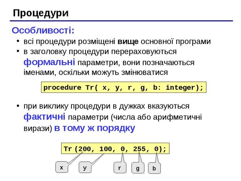 Процедури Особливості: всі процедури розміщені вище основної програми в загол...