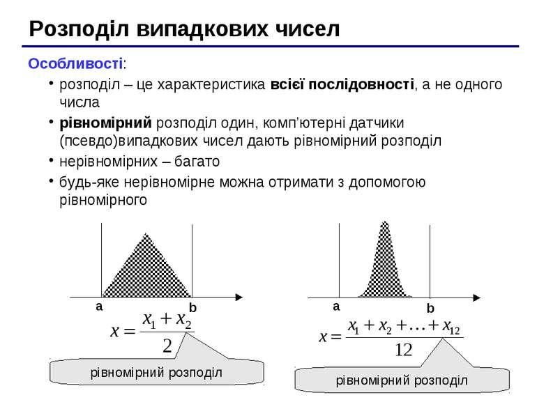 Розподіл випадкових чисел Особливості: розподіл – це характеристика всієї пос...