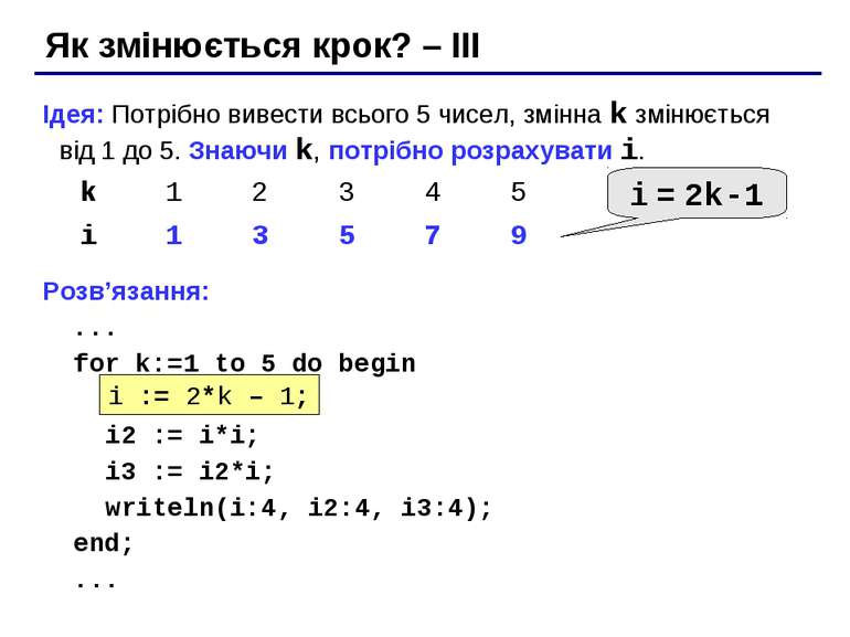 Як змінюється крок? – III Ідея: Потрібно вивести всього 5 чисел, змінна k змі...