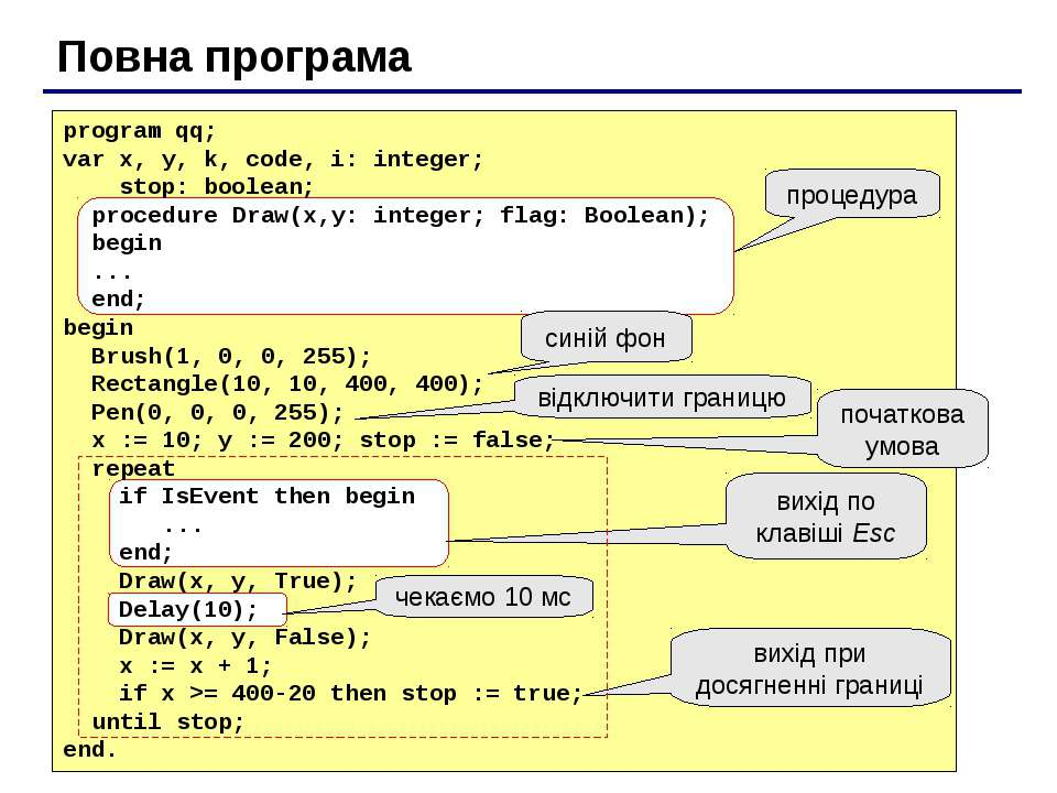 Повна програма program qq; var x, y, k, code, i: integer; stop: boolean; proc...