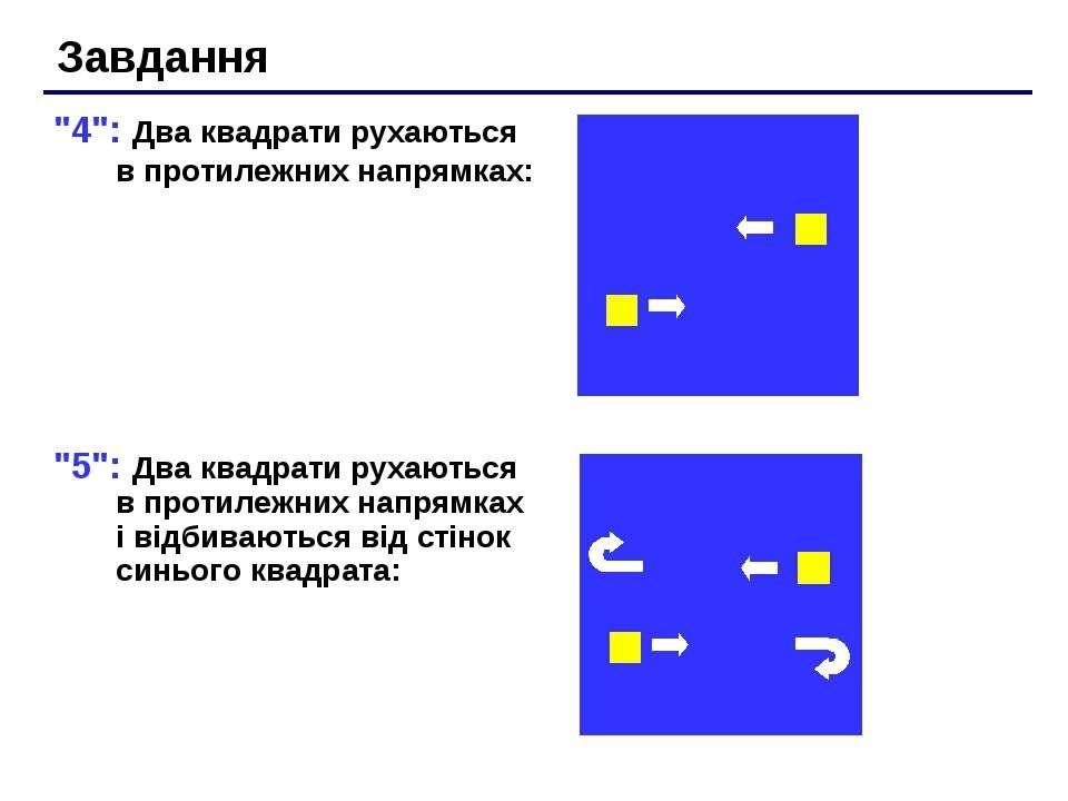"""""""4"""": Два квадрати рухаються в протилежних напрямках: """"5"""": Два квадрати рухают..."""