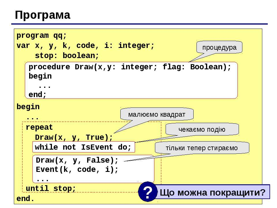 Програма program qq; var x, y, k, code, i: integer; stop: boolean; begin ... ...