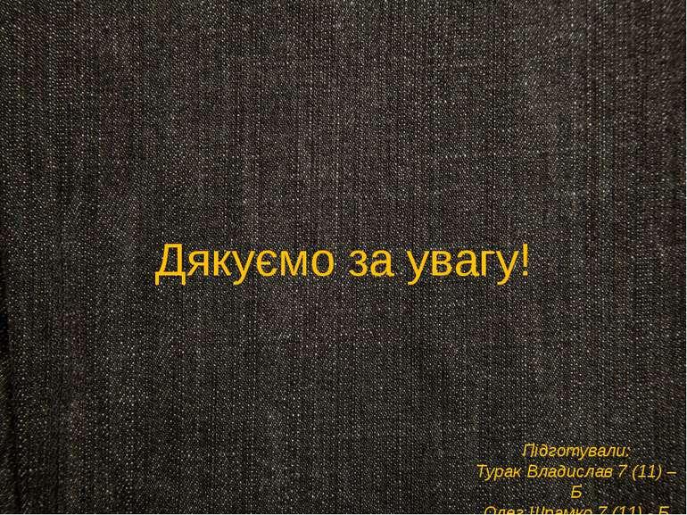 Дякуємо за увагу! Підготували: Турак Владислав 7 (11) – Б Олег Шрамко 7 (11) - Б