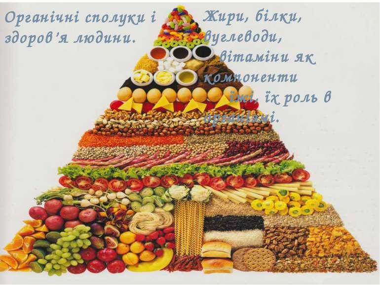 Органічні сполуки і здоров'я людини. Жири, білки, вуглеводи, вітаміни як комп...