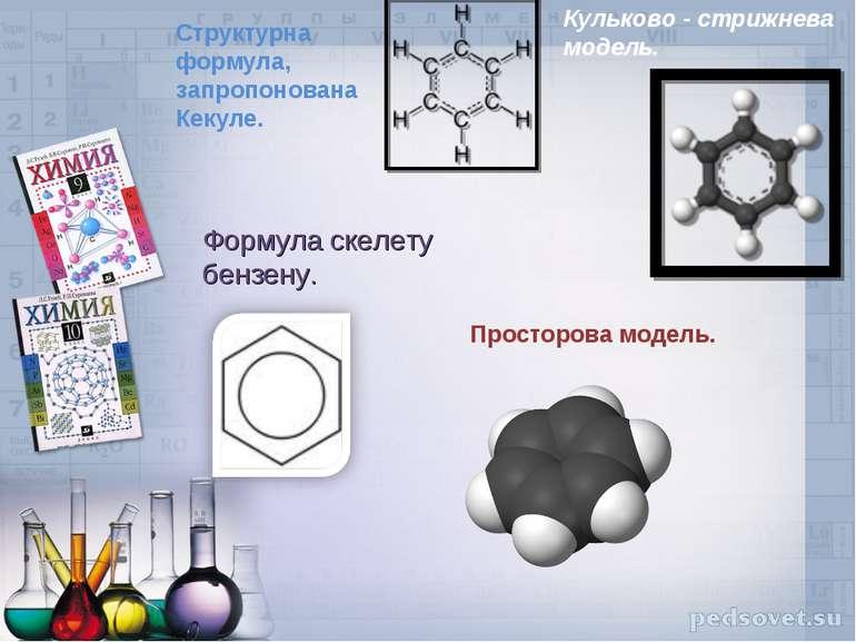 Структурна формула, запропонована Кекуле. Кульково - стрижнева модель. Формул...