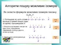 Алгоритм пошуку можливих ізомерів 1. Розташуємо всі шість атомів вуглецю в пр...