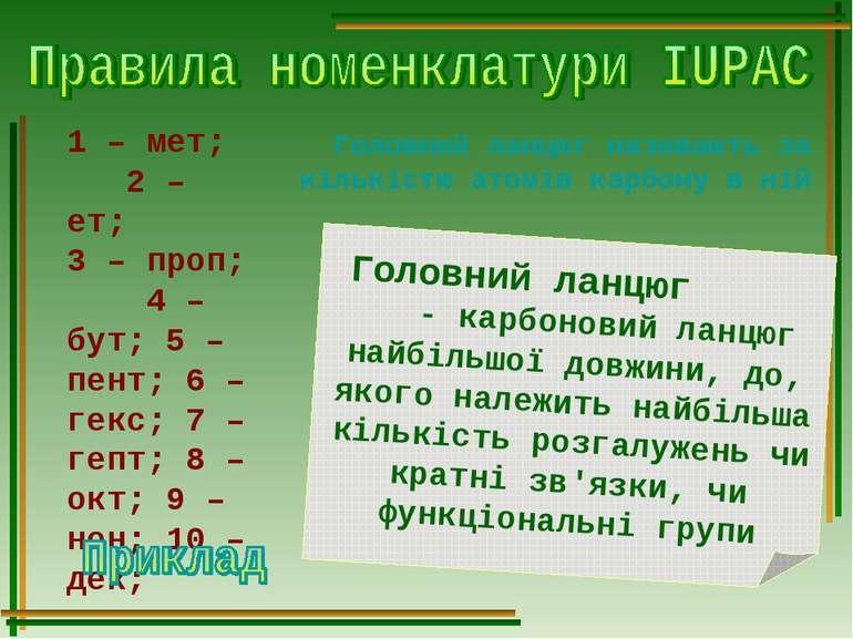 1 – мет; 2 – ет; 3 – проп; 4 – бут; 5 – пент; 6 – гекс; 7 – гепт; 8 – окт; 9 ...