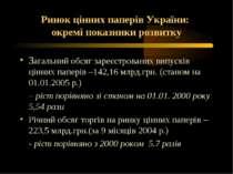 Ринок цінних паперів України: окремі показники розвитку Загальний обсяг зареє...