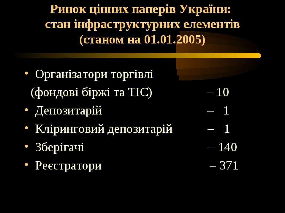 Ринок цінних паперів України: стан інфраструктурних елементів (станом на 01.0...