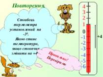 Повторення. 4 3 2 1 -1 0 -2 -3 -4 -5 -6 Стовбець термометра установлений на -...