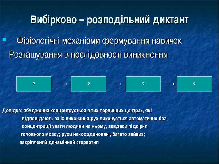 Вибірково – розподільний диктант Фізіологічні механізми формування навичок Ро...