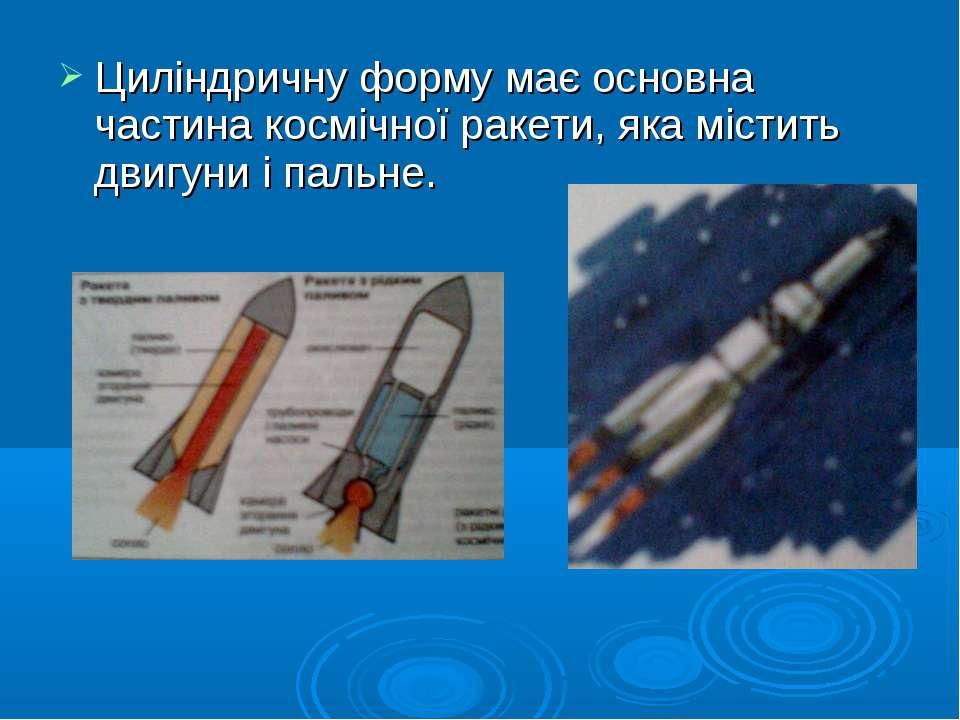 Циліндричну форму має основна частина космічної ракети, яка містить двигуни і...