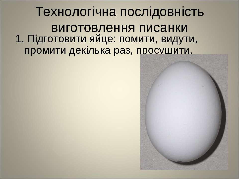 Технологічна послідовність виготовлення писанки 1. Підготовити яйце: помити, ...